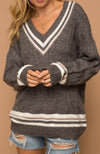 Gray and Taupe V Neck Varisty Sweater