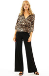 Leopard Cheetah Surplice Hi Low Blouse By Veronica M
