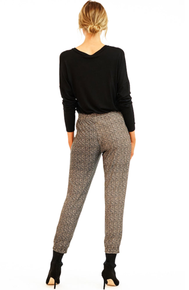 Jet Set Joggers By Veronica M in black and camel print