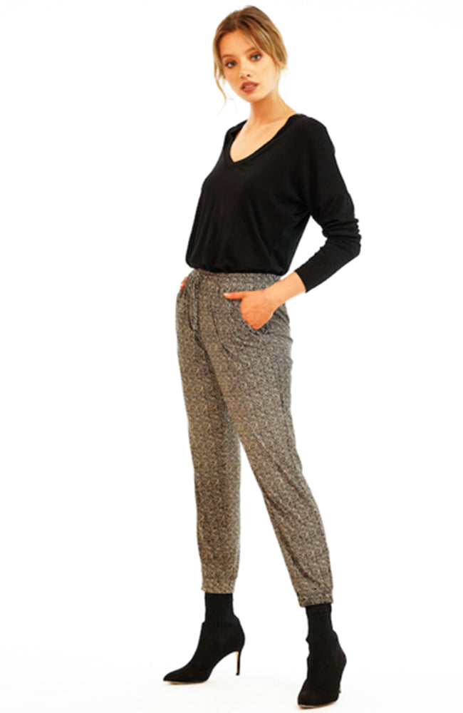 Veronica M Joggers in taupe and black print