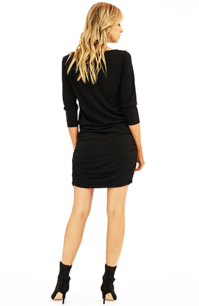 LBD Shirred Skirt Black Mini Cocktail Dress by Veronica M