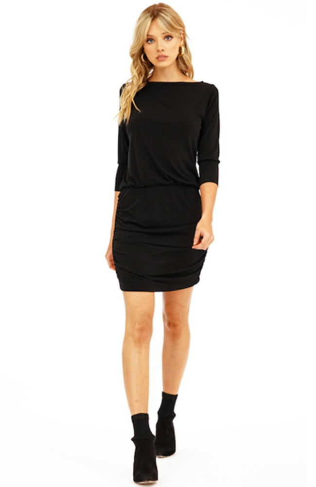 LBD Shirred Skirt Black Mini Dress by Veronica M