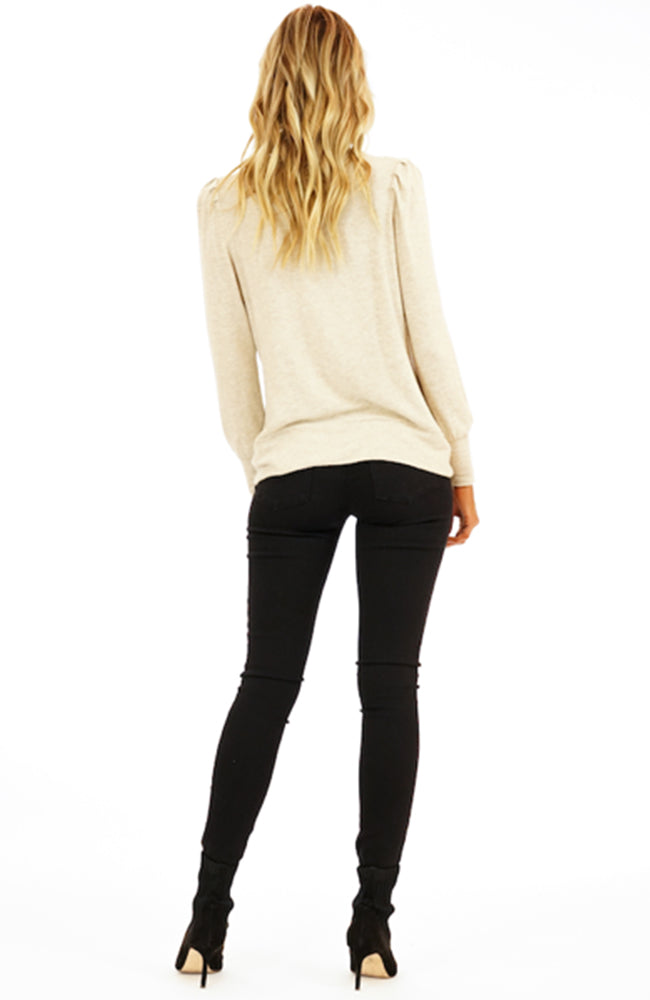 Puff Sleeves Knott Front Sweater in Oatmeal By Veronica M