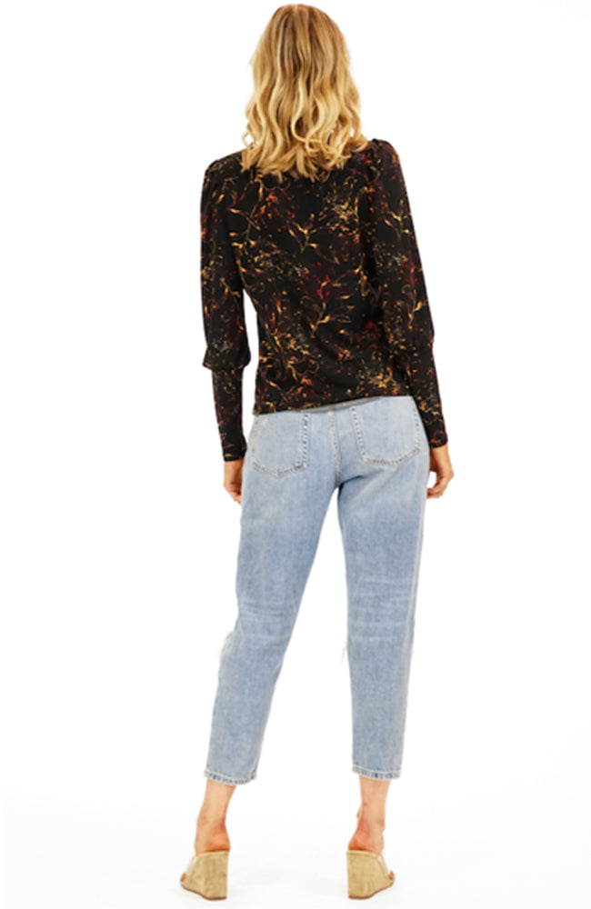 Veronica M Black Floral Print Crew Neck Puff Sleeve Blouse