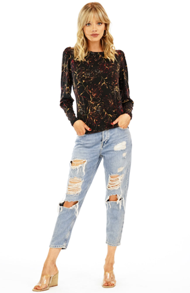 Black Floral Print Crew Neck Puff Sleeve Blouse Veronica M
