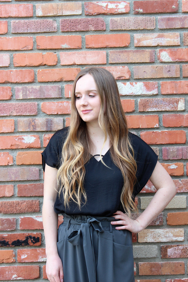Not So basic V-Neck Blouse in Black by Naked Zebra