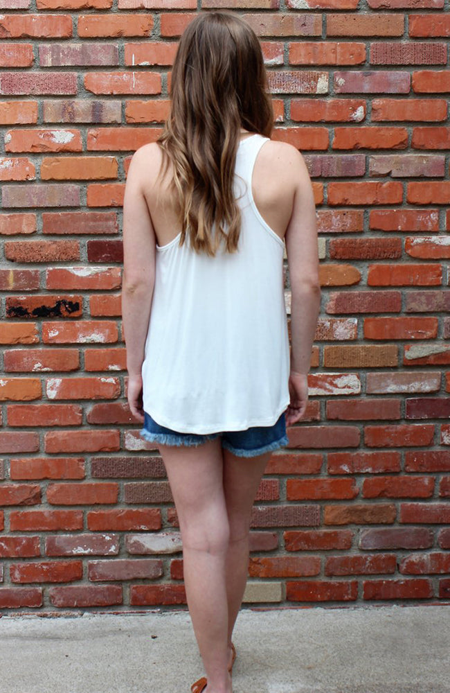 Knotted  Racer-back Tank Top in Ivory