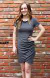 Bodycon Dress With Side Ruching in Charcoal