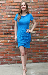 Side Ruched Bodycon Dress in Cobalt