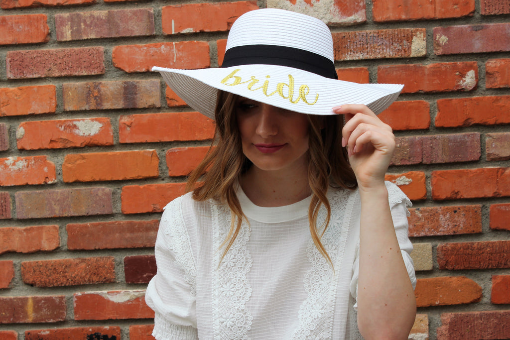 Bride Embroidered Sun Hat In White