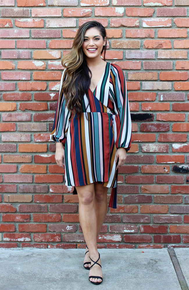 Wrap Dress in Multi Color Vertical Stripes