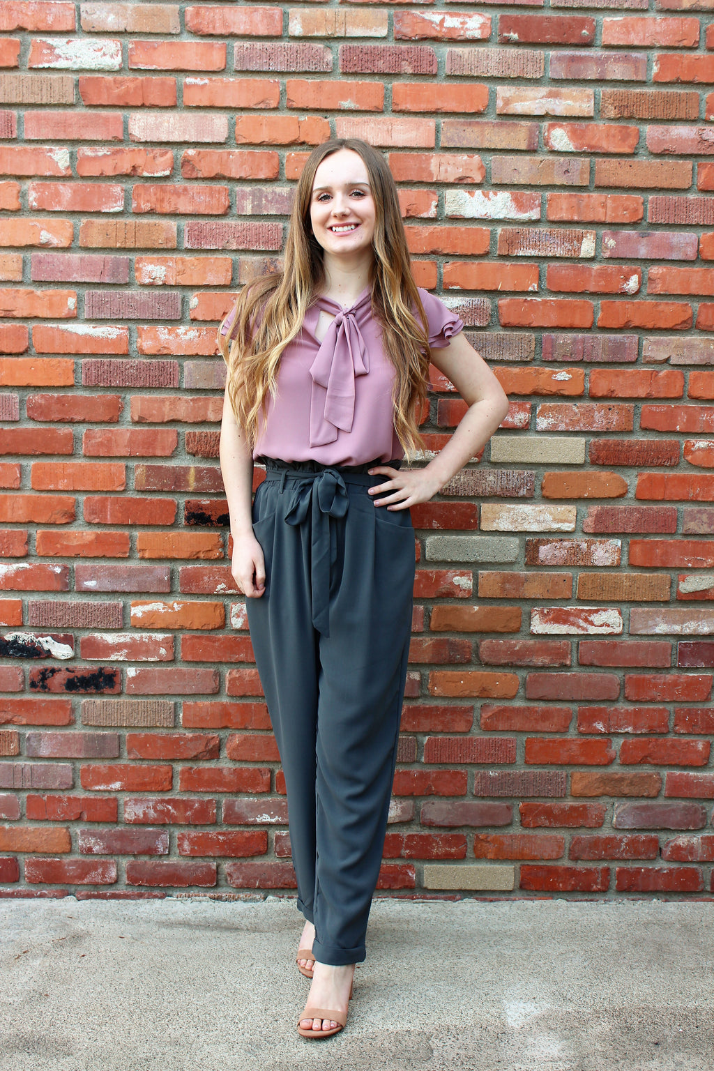 Paperbag Tie Waist Trousers in Gray