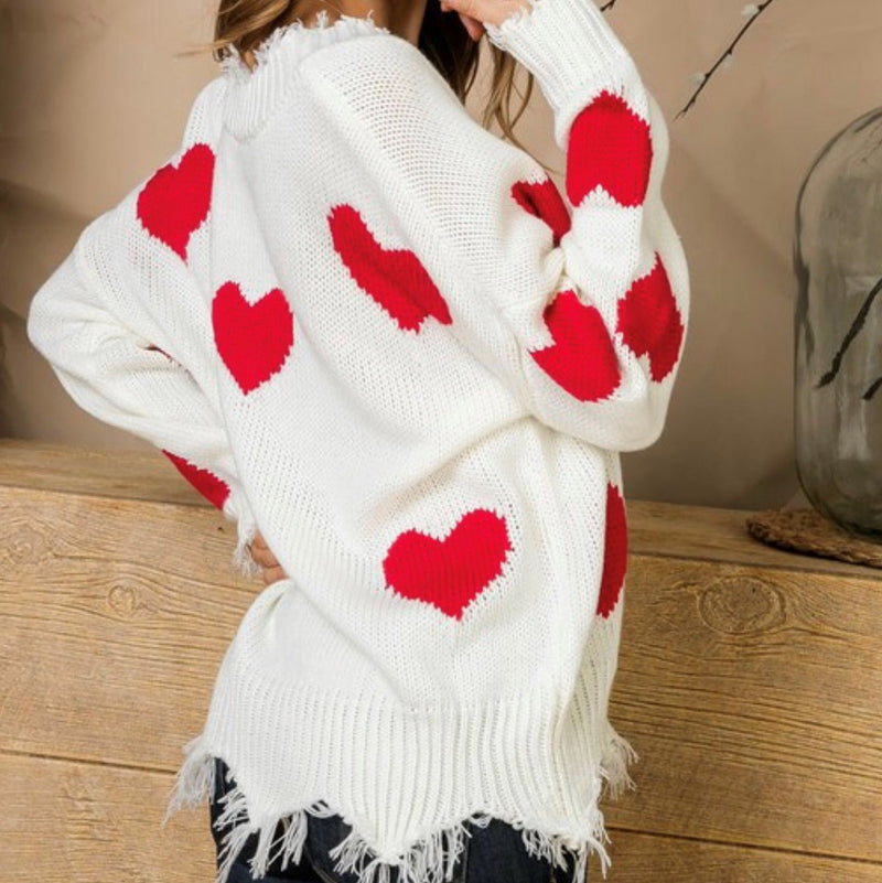 Closer To  My Heart Distressed Sweater