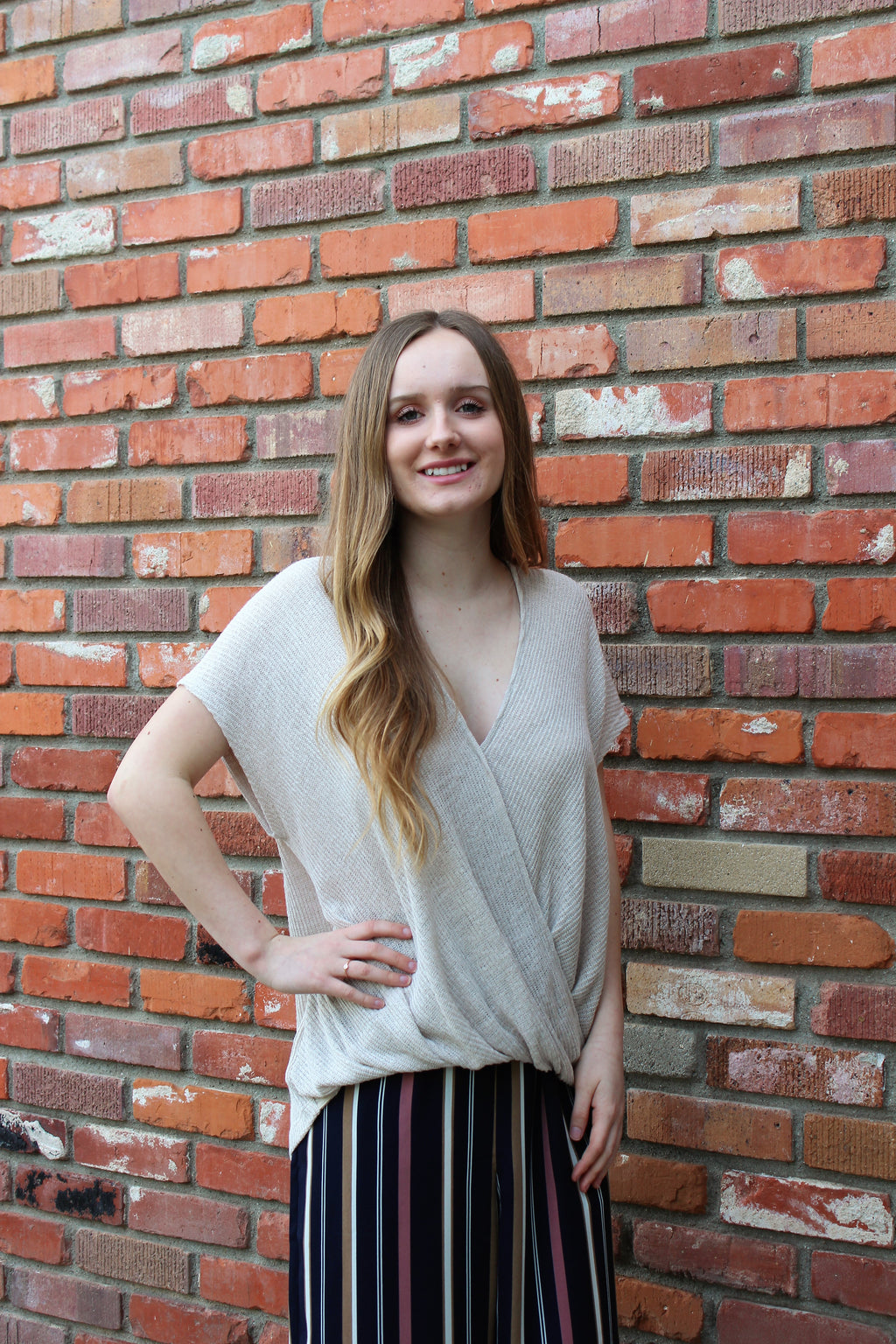 Natural Beauty Sweater Knit Top In Oatmeal By Lush