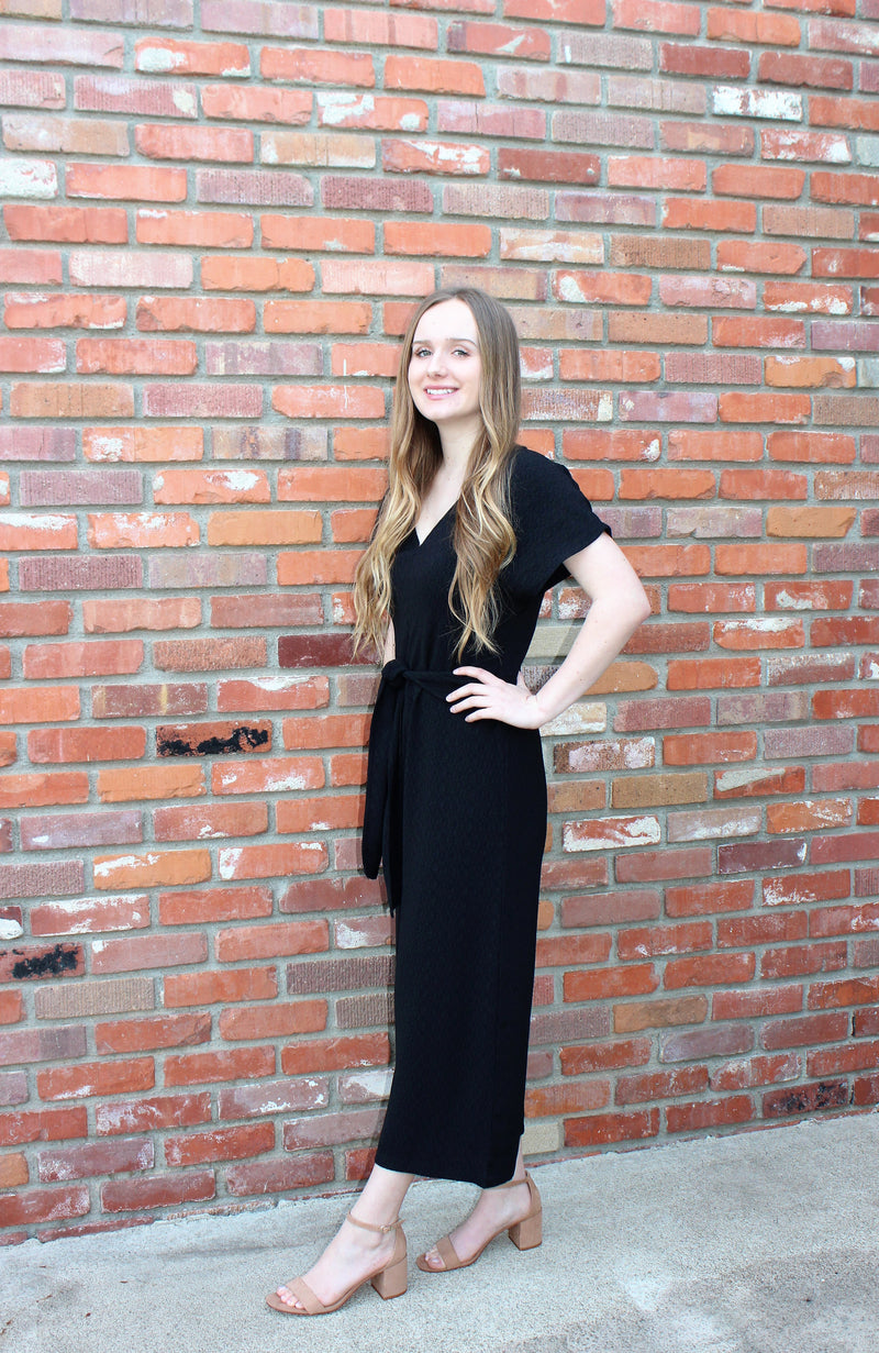 Seize The Day Culotte Jumpsuit In Black by Lush