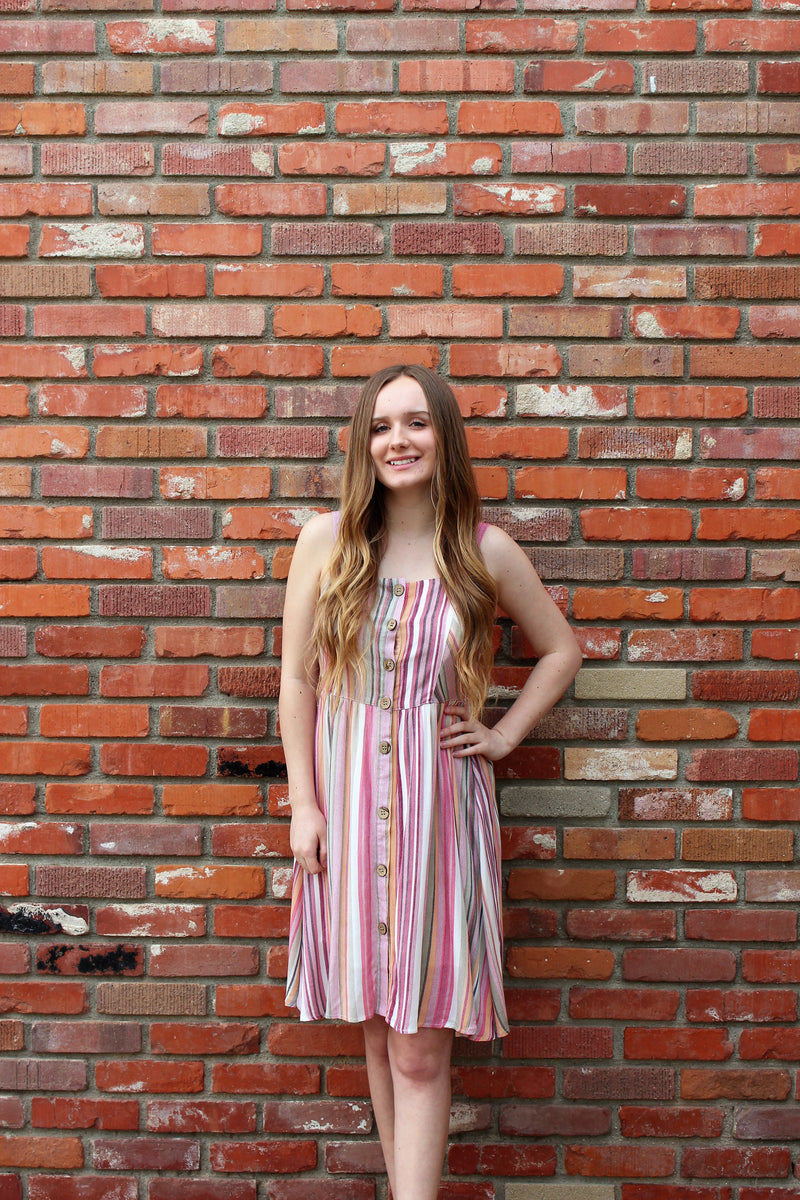 Spring Is Calling Dress in Multi Color Vertical Stripes