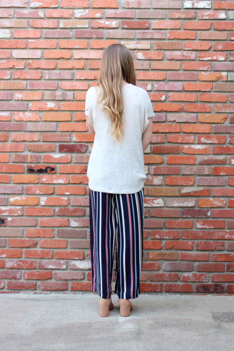 Business Or Pleasure Vertical Stripe Wide Leg Trouser in Mauve and Navy by Lush