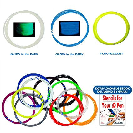 Buy 3D Pen Filament Refills 14 Different Colors ABS 1.75 - Bonus STENCIL EBOOK for $21.95