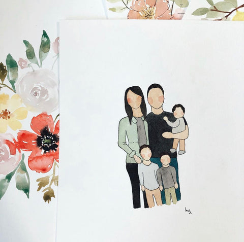family portrait water color painting