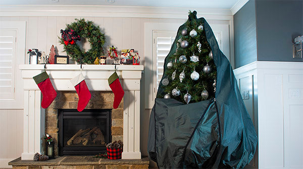 Decorated Upright Christmas Tree Storage Bag from TreeKeeper Bags