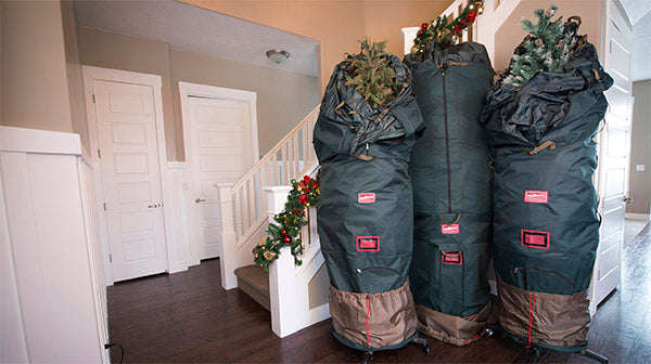 3 sizes of upright christmas tree storage bags from TreeKeeper Bags