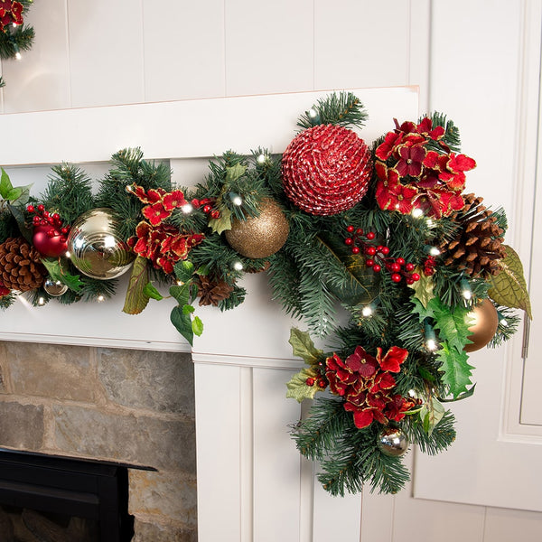 Garland_Scarlet Hydrangea Garland  |  Christmas World