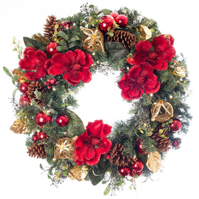 Red Magnolia Wreath | Christmas World