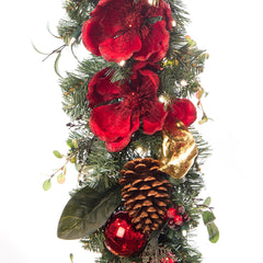 Garland_Red Magnolia Garland  |  Christmas World