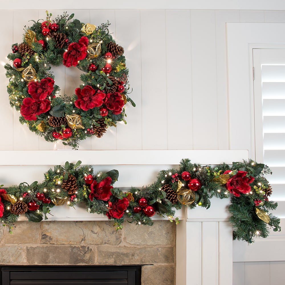 Red Magnolia Decorated Garland Christmas World