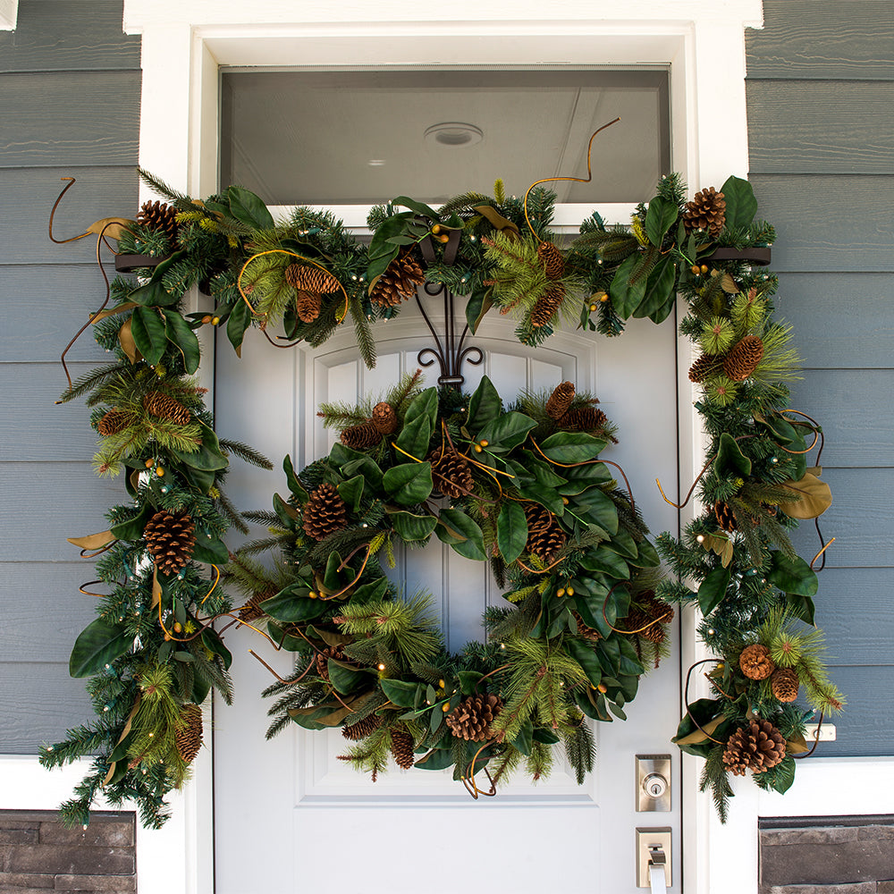 Natural Year Round Magnolia Leaf Decorated Wreath