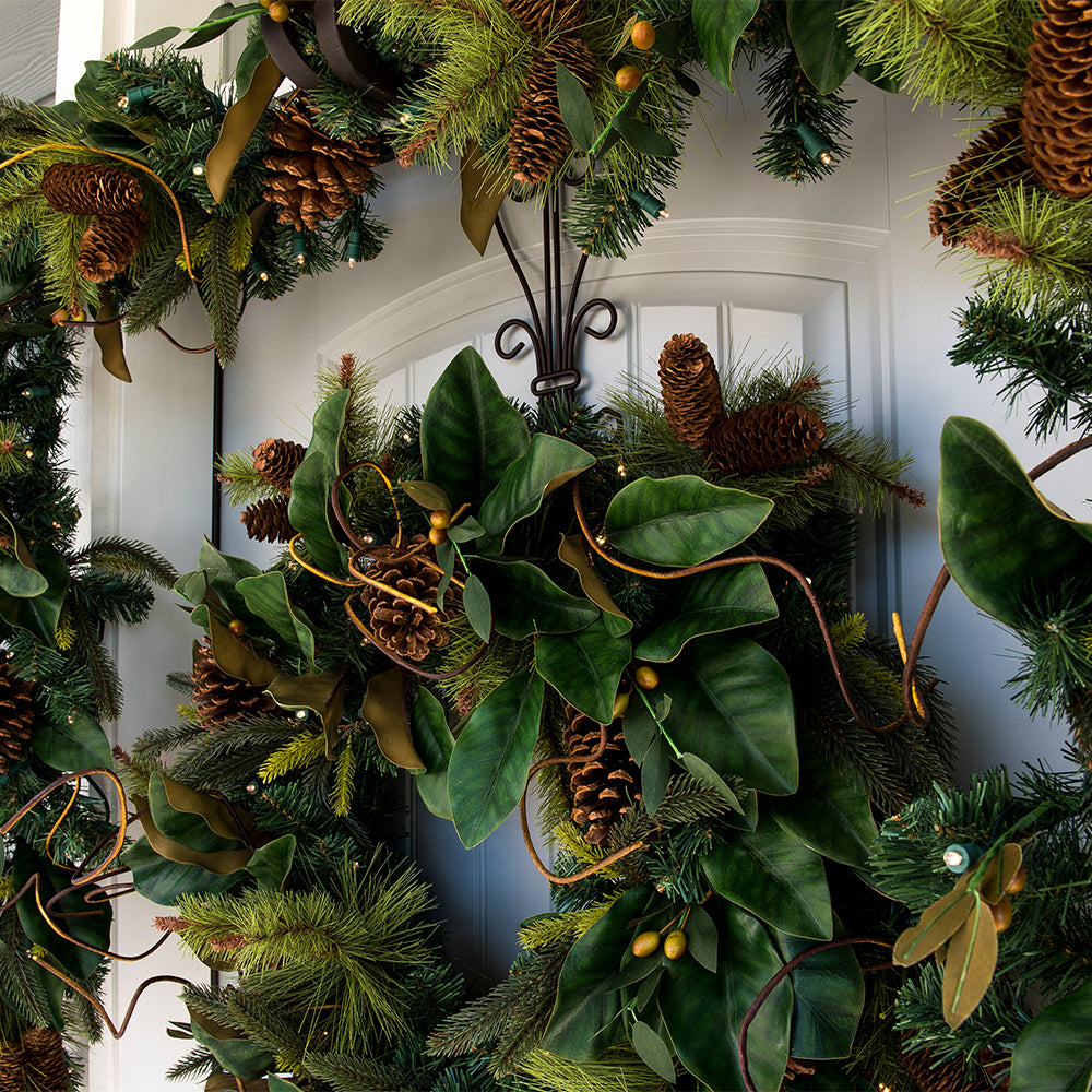 Natural Year Round Magnolia Leaf Decorated Wreath Christmas World
