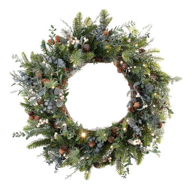 Rustic White Berry Wreath - 30