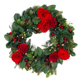 Red Peony & Berries Wreath (30-Inch) | Christmas World
