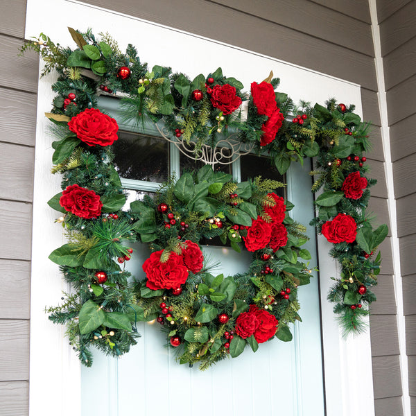 Red Peony & Berries Wreath (30-Inch)