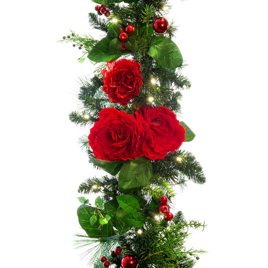 Red Peony & Berries Garland (9-Foot) | Christmas World