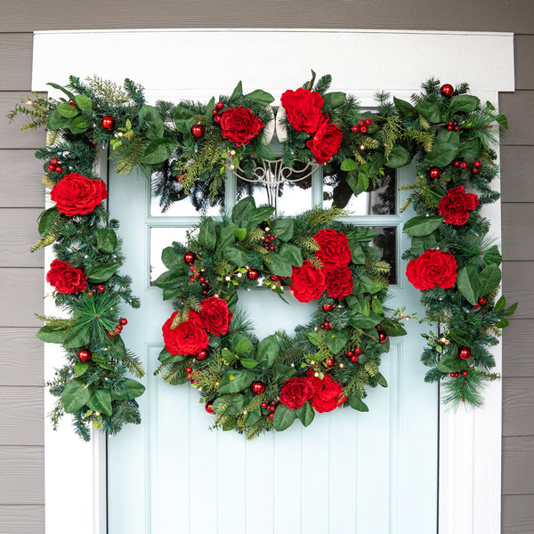 Red Peony & Berries Garland (9-Foot)