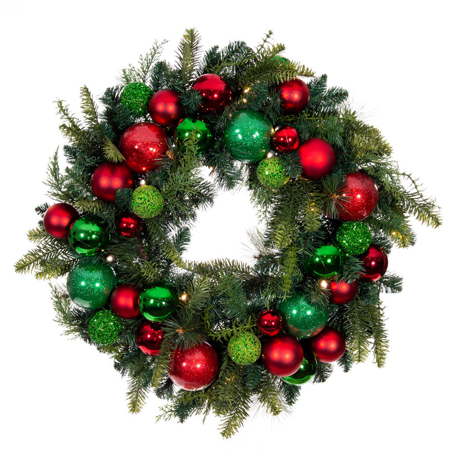 Christmas Cheer Red & Green Wreath - 30 Inch | Christmas World