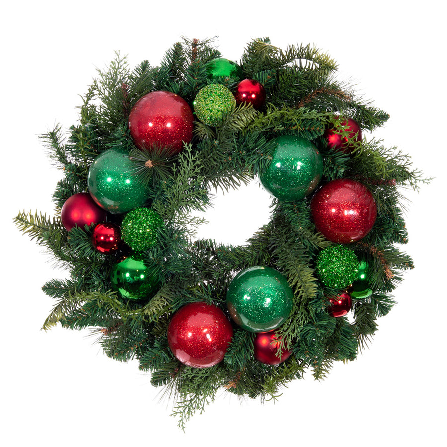 Christmas Cheer Red & Green Wreath - 24 Inch | Christmas World