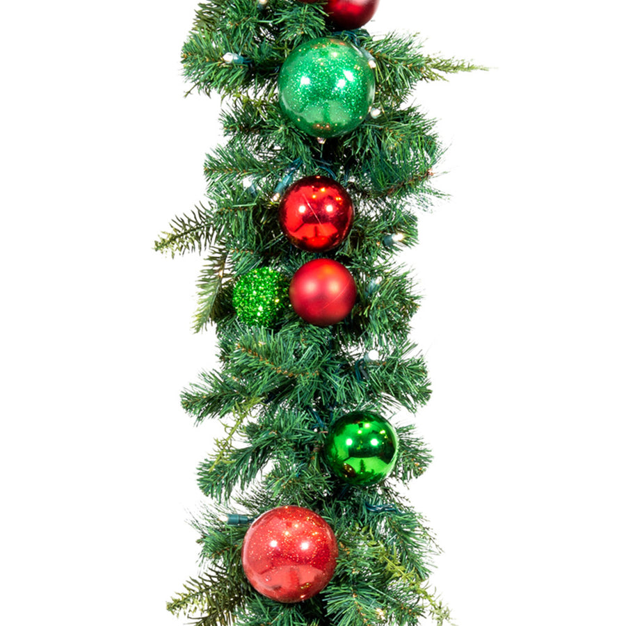 Christmas Cheer Red & Green Garland - 9 Foot | Christmas World