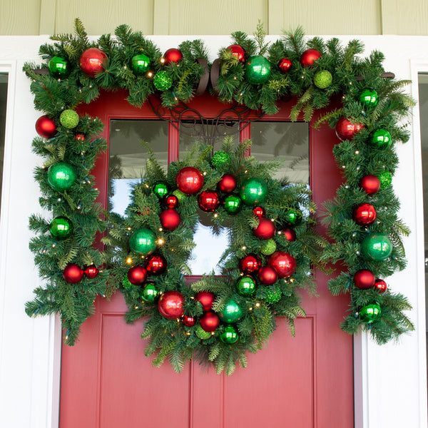 Christmas Cheer Red & Green Garland - 9 Foot