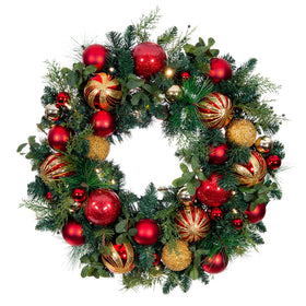 Christmas Classic Red & Gold Wreath - 30 Inch | Christmas World