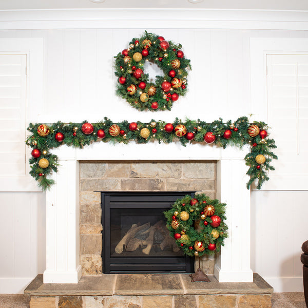 Christmas Classic Red & Gold Wreath - 30 Inch