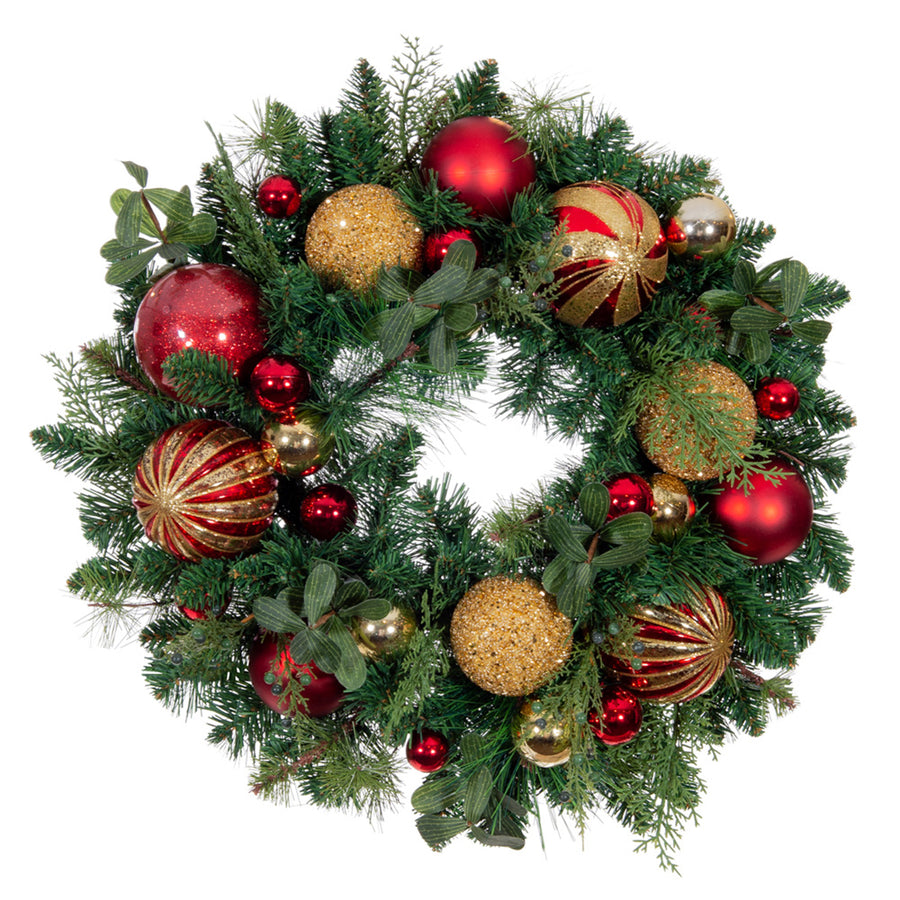 Christmas Classic Red & Gold Wreath - 24 Inch | Christmas World