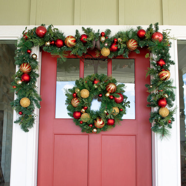 Christmas Classic Red & Gold Wreath - 24 Inch