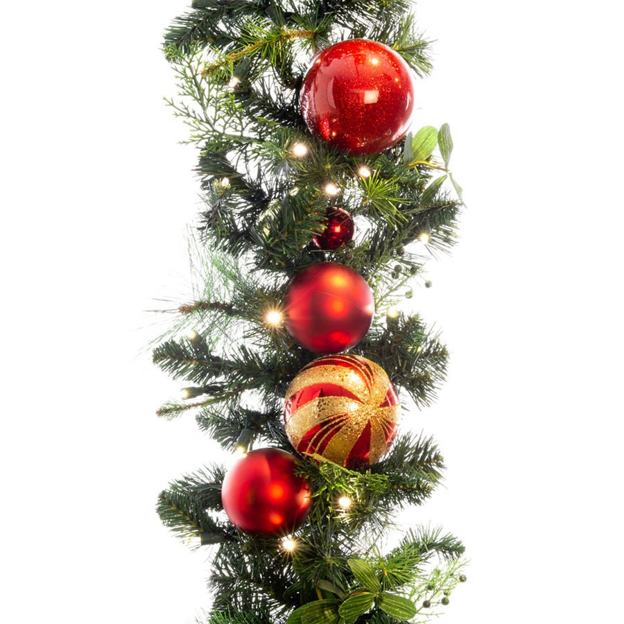 Christmas Classic Red & Gold Garland - 9 Foot | Christmas World