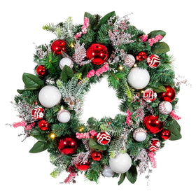 Nordic Red and White Wreath (30-Inch) | Christmas World