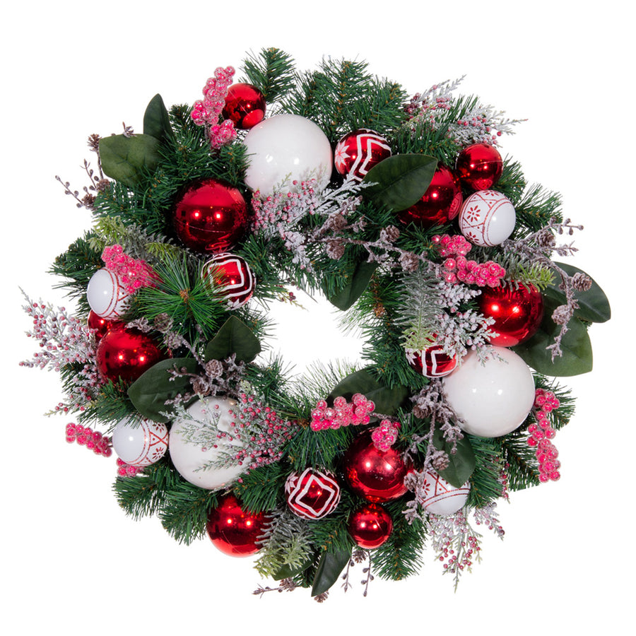 Nordic Red and White Wreath (24-Inch) | Christmas World