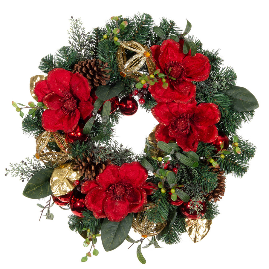 Red Magnolia Wreath (24-Inch) | Christmas World