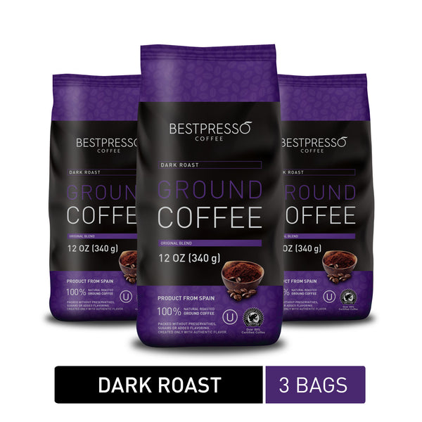 Dark Roast Ground Coffee (3 Packs Of 12oz)