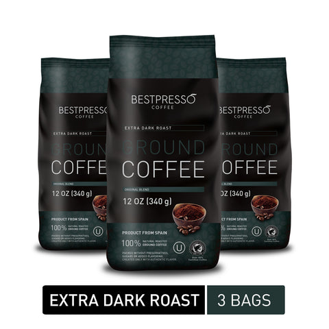 Extra Dark Roast Ground Coffee (3 Packs of 12oz)